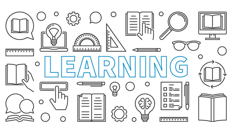 Learning Vector Horizontal Banner. Education Concept Illustratio