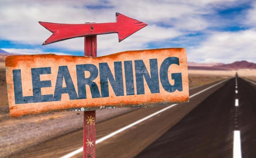Learning sign with road background